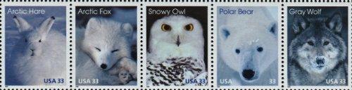 (ARCTIC ANIMALS ~ ARCTIC HARE ~ ARCTIC FOX ~ SNOWY OWL ~ POLAR BEAR ~ GRAY WOLF #3292 Strip of 5 x 32¢ US Postage Stamps)