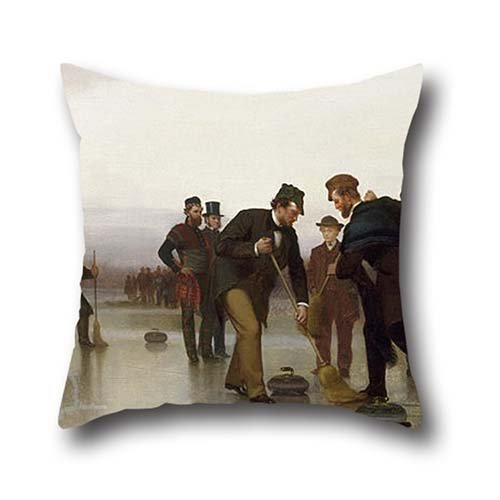 Oil Painting John George Brown - Curling;--a Scottish Game, At Central Park Pillow Cases 16 X 16 Inch / 40 By 40 Cm Gift Or Decor For Relatives,sofa,wedding,kids,wedding,valentine - Double Sides