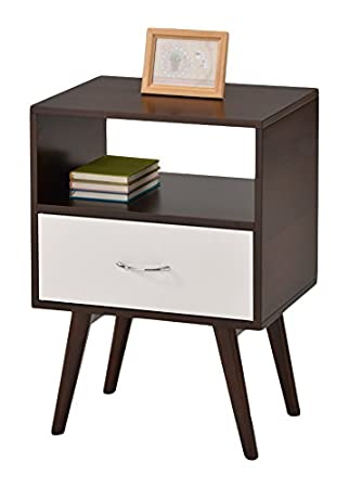 Superb EHomeProducts Side End Table/Nightstand With Drawer/Shelf, White/Espresso