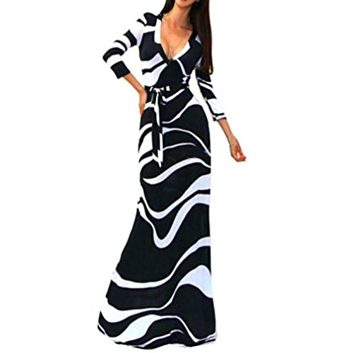 Caopixx Women Dress, Deep V 3/4 Sleeve Maxi Dress Casual Striped Wrap Waist Long Dress (Asia Size M, (Black Velvet Long Dress)