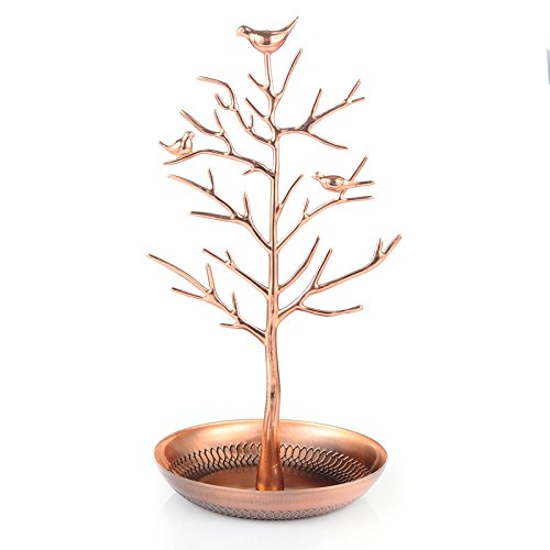 Inviktus Silver Birds Tree Jewelry Stand Display Earring Necklace Holder Organizer Rack - Shape Display Tree Stand Earring