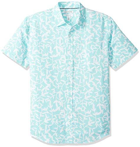 Amazon Essentials Men's Regular-Fit Short-Sleeve Print Linen Shirt, Aqua Leaf, Large ()
