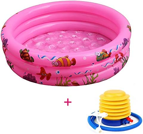 """子供のためのインフレータブルポータブルプール、長方形の水は夏の屋外35"""" インフレータブルで楽しいバスタブを再生,ピンク"""