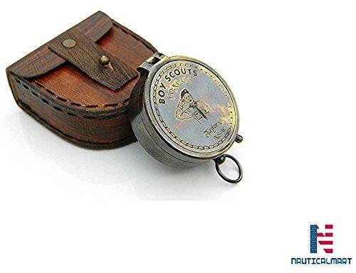 スカウト少年真鍮ポケットcompass- W /ケース B073WWQ191