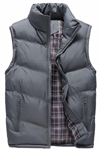 Solid Jacket TTYLLMAO Colored Thickened Size Grey Plus Lightweight Mens Vest X0F0nH7