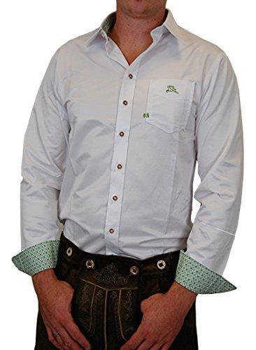 Edles Trachtenhemd Slim Fit weiß mitStick und edlen Farbkontrasten in grün, rot oder blau, Größe:Halsgröße 47/48 (3XL);Farben:weiss/grün