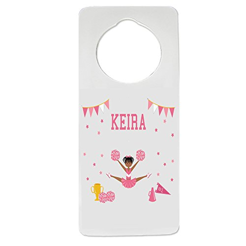 Personalized Cheerleader African American Pink Nursery Door Hanger by MyBambino