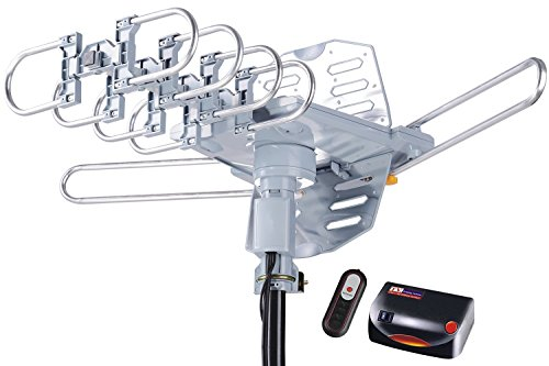 McDuory Amplified Digital Outdoor HDTV Antenna 150 Miles Long Range - 360 Degree Rotation Remote Control - Tools Free Installation - Support 2 TVs by McDuory
