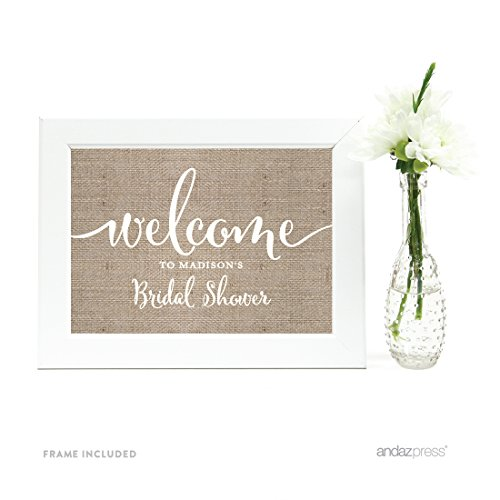 Andaz Press Personalized Wedding Framed Party Signs, Country Burlap Printed Cardstock, 5x7-inch Wall Art, Poster, Gift, Welcome to Madison's Bridal Shower Sign, 1-Pack, Includes Frame by Andaz Press