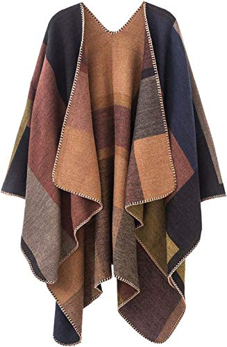Lacavocor Women's Warm Wrap Cape Winter Cardigan Sweaters Open Front Poncho (A1-Khaki) (Wool Blanket Poncho)