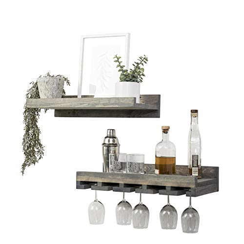 (Del Hutson Designs Floating Wine Shelf and Glass Rack Set (Wall Mounted), Rustic Pine Wood Handmade (Grey))