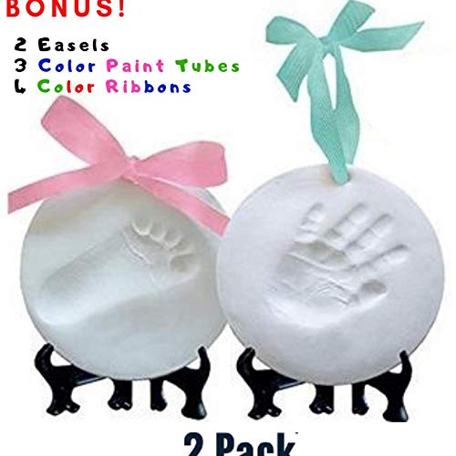 (New and Improved Ornament Keepsake Kit (NEWBORN BUNDLE) 2 EASELS, 4 RIBBONS & BONUS COLOR TUBES! Baby Handprint Kit and Footprint Kit, Clay Casting Kit for Baby Shower Gifts, Boys & Girls)
