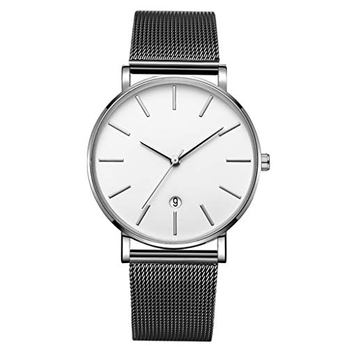 Metallic Leather Calfskin (LUCAMORE Mens Quartz Watch,Analog Wrist Minimalist Watches Fashion Date Window Ultra-Thin, Mesh Stainless Steel Strap)