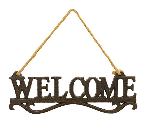 Hanna's Handiworks Welcome Rustic Silver Tone 9 x 3 Metal and Twine Decorative Plaque Hanger