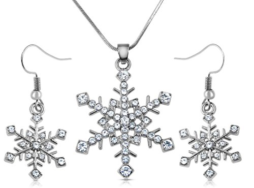 (Snowflake Necklace and Dangle Earrings Christmas Jewelry Gift Set for Winter Fashion, Women Teens Stocking Stuffer Ideas (Clear))