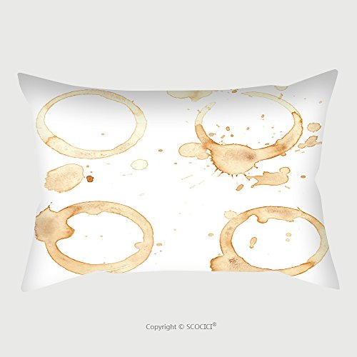 Custom Satin Pillowcase Protector Traces Of A Coffee Cup Splashes And Traces Of Coffee Cup Circles And Rings On White Background 228724333 Pillow Case Covers Decorative by chaoran