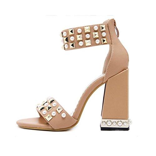 Talons Fashion Toe Apricot Femmes Sandales Zipper Hauts Open Rugueux Shoes Rear Xdgg Dames Summer Rivet 17YUwUqT