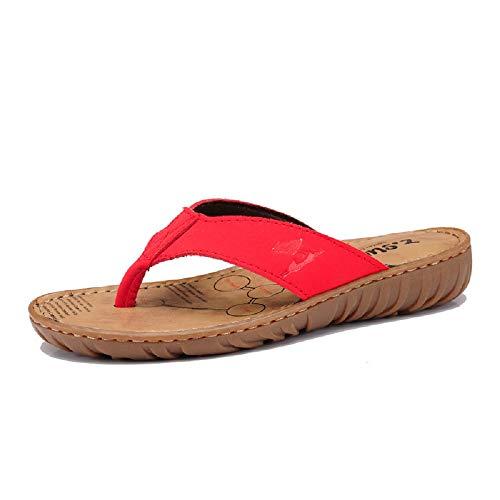 Sandales 36 Cuir Qiusa Taille Clip Femmes Tongs coloré Plat Cuir Toe Kaki en EU Rouge Occasionnels Souple en vrRaEqxwv