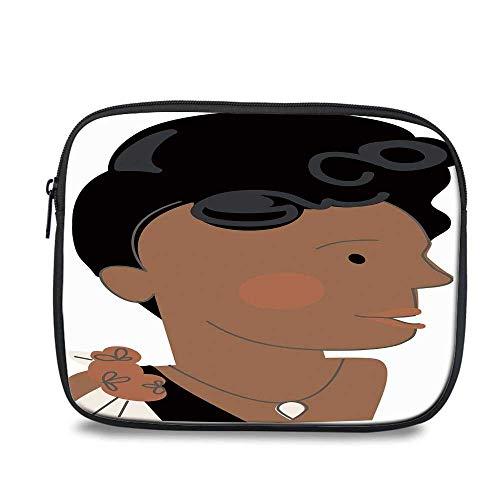 Ella Fitzgerald Decor Durable iPad Bag,Queen of Jazz Famous Idol Legendary Female Artist Vocalist Decorative for iPad,10.6
