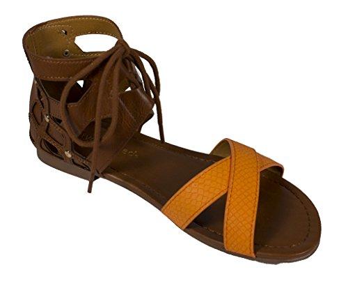Donna Classificata Wabash Open Toe Lace Up Con Cinturino Alla Caviglia In Similpelle Marrone-arancio