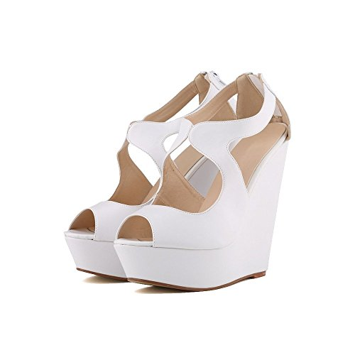 Femmes Faux Velours Peep Toe Robe Plate-forme Haute Sandales Compensées Blanc