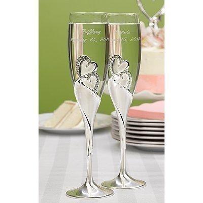 (Hortense B. Hewitt Wedding Accessories Sparkling Love Champagne Flutes, Set of 2)