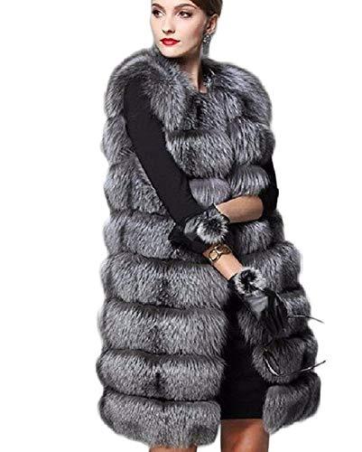 Elégante Manteau Art Gris Casual Épaissir Branché Gilet Sans Hiver Dame Grande Foncé Fourrure De Femme Taille Parka Chaud Longues Coat Plush Manches Battercake qIw1Ea8x