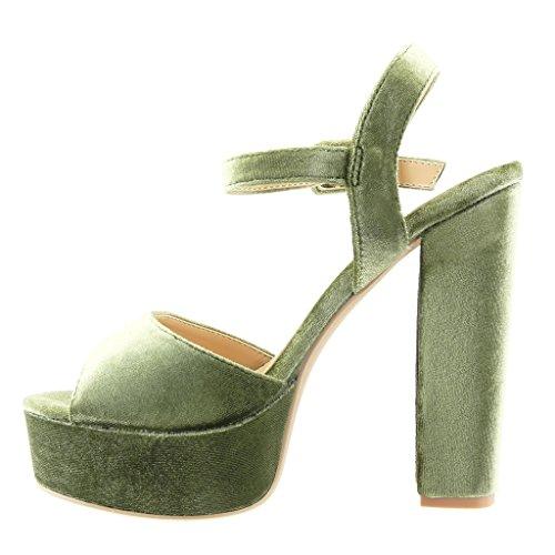 String Sandalen Schuhe High Cm 14 Plateauschuhe Damen Blockabsatz Angkorly Pumpe Sexy Tanga Grüne Heel zYwRET