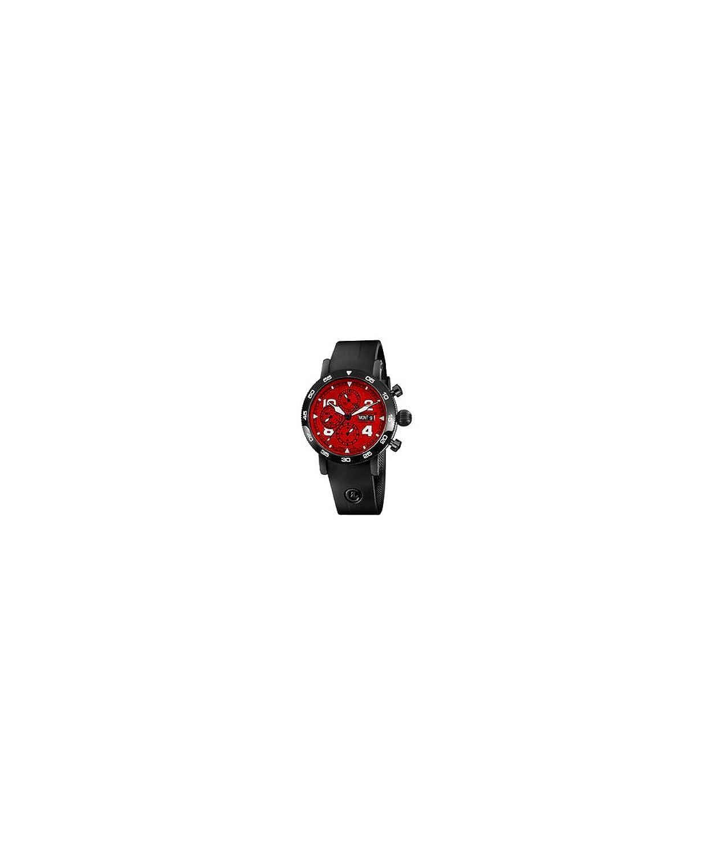クロノスイスTimemasterクロノグラフ日日付メンズレッドダイヤルブラックゴムストラップ自動ブラックPVD腕時計ch-9045-re B014WPDDH0