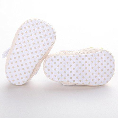 Bebé Zapatos Suela Blanda de Punto de Ganchillo Primeros Pasos Blanco