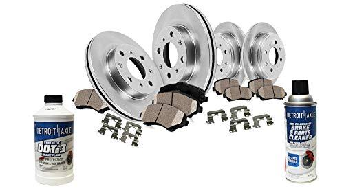 (Detroit Axle - All (4) Front & Rear Disc Brake Rotors w/Ceramic Pads w/Hardware & Brake Cleaner & Fluid for 2005 2006 2007 Ford Focus - NOT SVT Models)