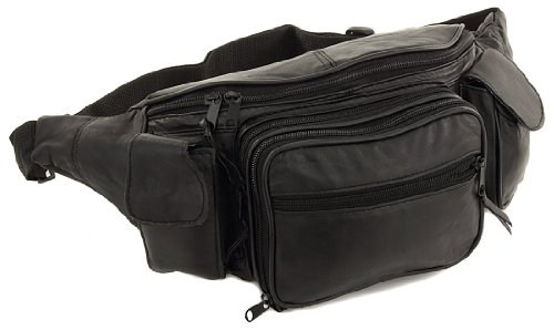 New Large 8 Pocket Genuine Leather Waist Pack