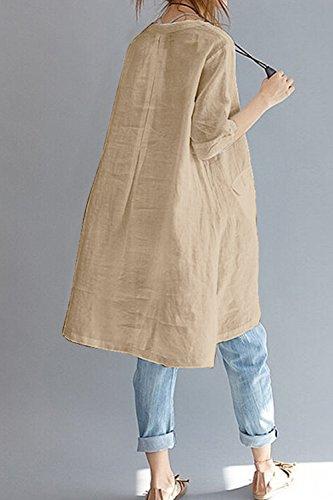 Derrire Irrgulires en Vrac La Taille La Et Tunique Le Femmes Occasionnels Solides Robe du Kaki Bouton De Les Oq87wO