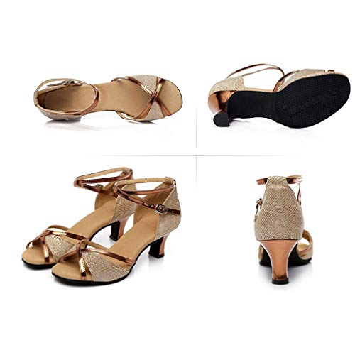 zitan Women's Heeled Sandals Ankle Strap High Heels Open Toe Mid Heel Sandals Bridal Party Shoes Dance Shoes Gold