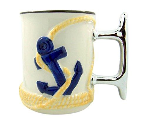 (Beach Ship Cleat and Anchor Sculpted Handle Ceramic Coffee Mug, 16 oz)