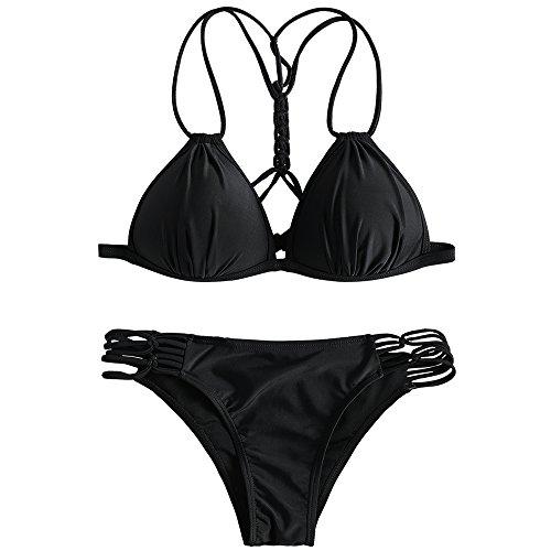 2018 Casual Bikini Set Push up Imbottiti Sexy Donna Cotone Costume da Bagno con Cinturino Stampato Estate Swimwear per Mare Multicolori Nero