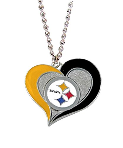 aminco NFL Pittsburgh Steelers Team Logo Swirl Heart Necklace -
