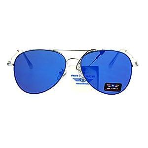 Flat Panel Lens Classic Metal Rim Police Style Aviator Sunglasses Silver Blue