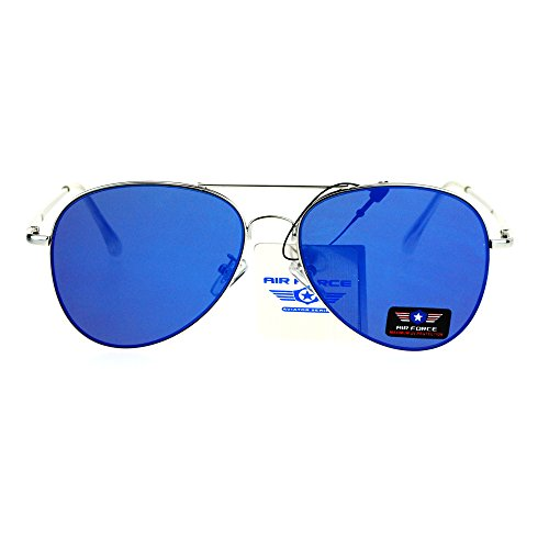 Flat Panel Lens Classic Metal Rim Police Style Aviator Sunglasses Silver Blue