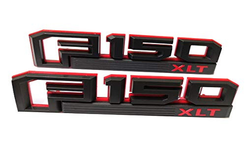 2x F150 XLT Fender Emblems Badge 3D Decal Nameplate Replacement for 2015-2017 F-150 Black & Red Original Size