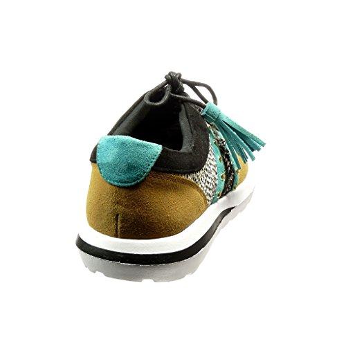 Angkorly Women's Fashion Shoes Trainers - Jewelry - Finish Topstitching Seams - Snakeskin Flat Heel 2.5 cm Khaki QUfWN