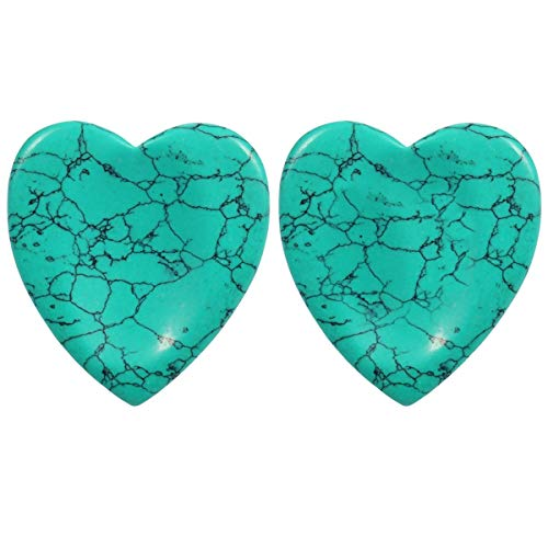 rockcloud Worry Stone,Thumb Palm Stones for Anxiety, Healing Crystal, Heart Shape, Green Turquoise