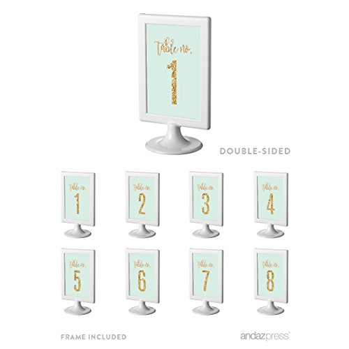 Andaz Press Mint Green Gold Glitter Print Wedding Collection, Framed Table Numbers 1 - 8 on Perforated Paper, Double-Sided, 4 x 6-inch, 1 Set, Includes Frames (1 Gold Framed Print)