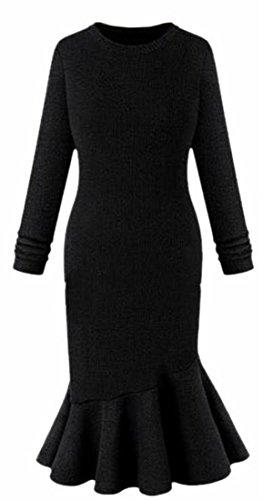 Evening V Dresses Dress Evening Bandage Neck Jaycargogo Fishtail Women's Long Black Sleeve zpnq7