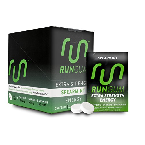 - Extra Strength Spearmint Caffeinated Energy Gum 100mg Caffeine Taurine B-Vitamins (Box of 12 Packets, 24 Pieces) Zero Calorie Sugar Free No Aspartame Chewing Gum Tablet