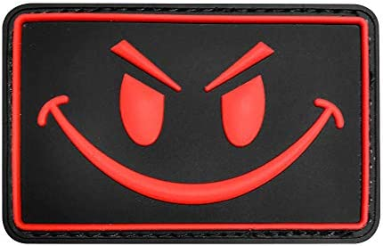 Red, PVC MORTHOME Original Smiley Face Embroidered//PVC Rubber Morale Velcro Hook Loop Backing Patch