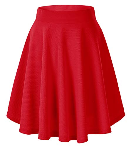 Urban CoCo Women's Basic Versatile Stretchy Flared Casual Mini Skater Skirt (X-Large, Red-Long)