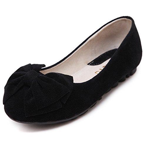 smilun Lady Loafer Suede soporte de lazo piel Ultra suave dulce elegante negro