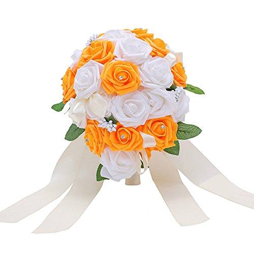 Bodarind Rose Waterfalls Design Artificial Flowers Rose Rhinestone Bridal Bouquet for Wedding