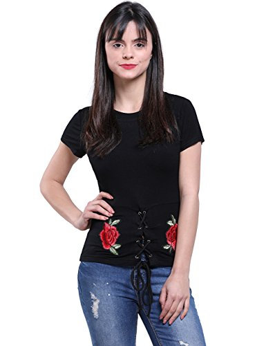 Corset Floral Embroidered (Fancyqube Women's Sexy Corset Lace Up Front Floral Embroidered Stretch Knit Short Sleeve Top Shirt Black L)
